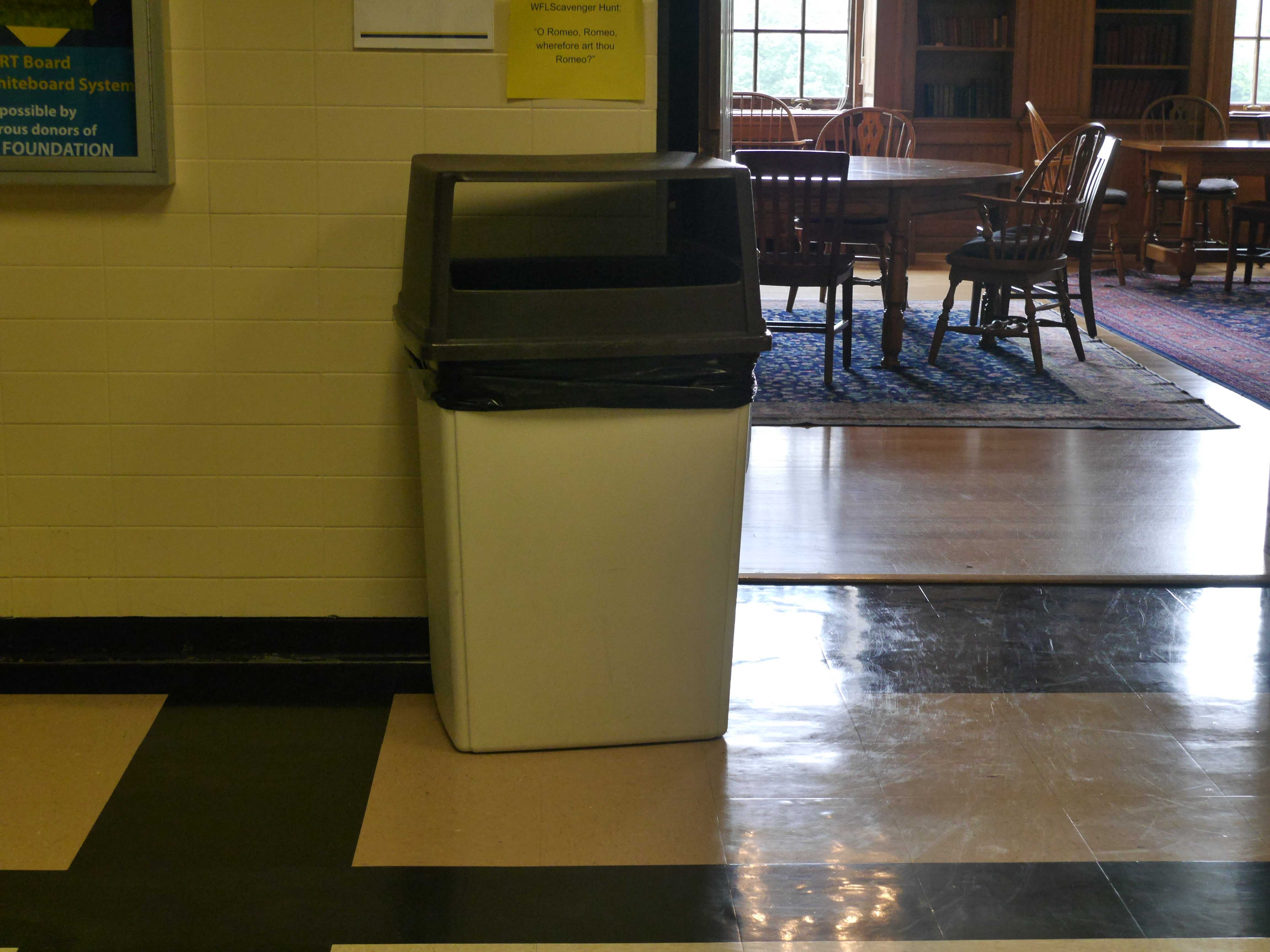The garbage can in the main senior hallway of LFHS. Photo courtesy of Elizabeth Porter, The Forest Scout