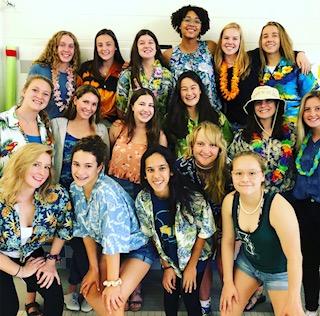 This is the Varsity Swim Team dressed up in Hawaiian in preparation for the Mundelein meet last week.