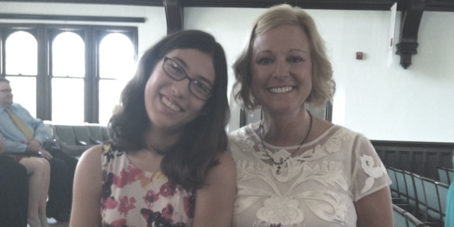 Writer Katie Pierce and Lake Bluff Middle School teacher Mrs. Darci Johnson, who passed away unexpectedly this month.
