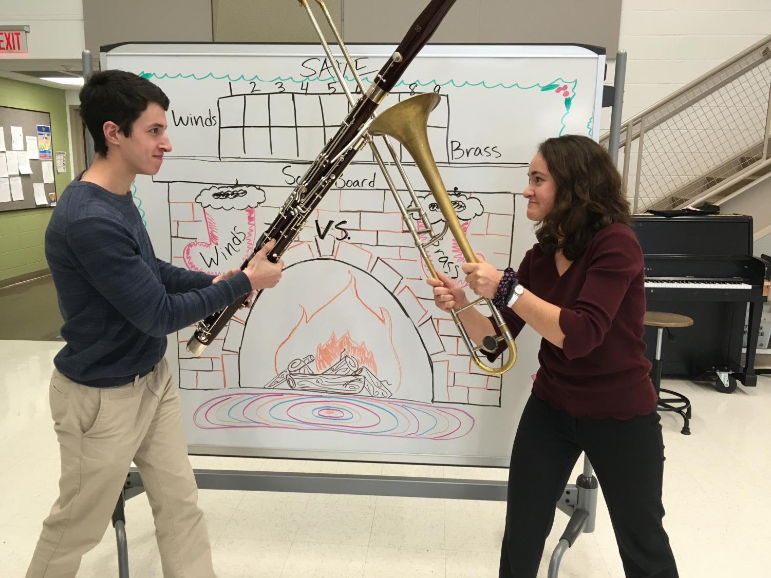 Holiday Winds student leader Emmet Rubin and Holiday Brass leader Katherine Jemian in anticipation of the annual competition.