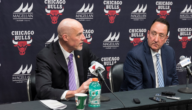 Bulls+General+Manager+Gar+Forman+%28right%29+and+Vice+President+of+Basketball+Operations+John+Paxson%0A%28collectively+known+as+%22GarPax%22%29+answer+questions+at+a+recent+press+conference+%28Bill+Smith%2FChicago+Bulls%29