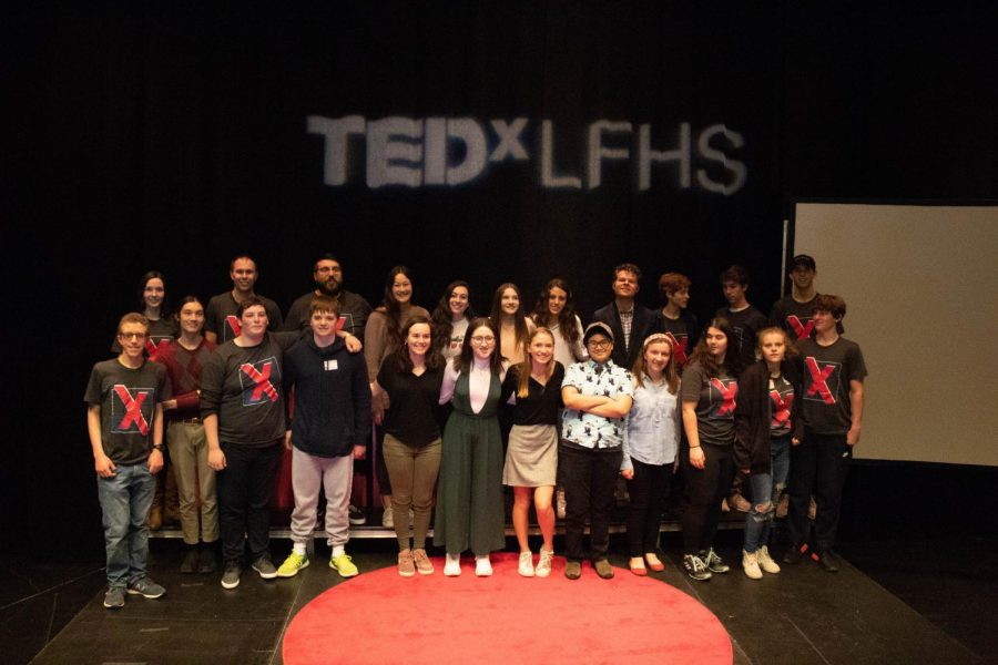 The TEDx crew gathers at the end of the event for a group photo.