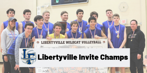Boys Volleyball celebrating the tournament win with the bracket (seen above)