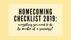 Homecoming Checklist 2019