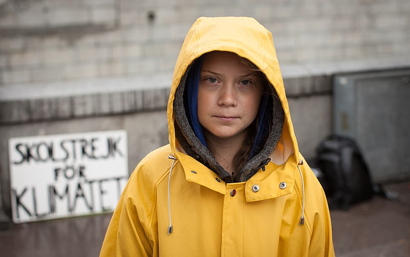 Greta Thunberg — climate activist, transatlantic voyager, teenager — protesting outside the Swedish parliament building in August 2018.