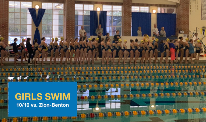 Girls+Swimming+lines+up+for+the+National+Anthem+prior+to+their+meet+against+Zion-Benton+on+Thursday%2C+Oct+10%0A