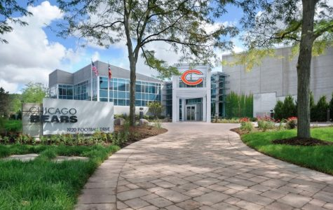 A look outside the main entry of Halas Hall in Lake Forest.