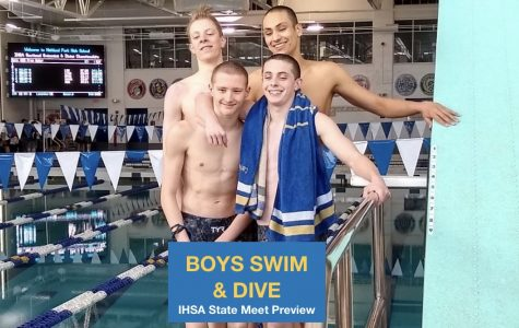 The second place, state-qualifying result out of the 200 Freestyle Relay closed out Sectionals with a bang (from top to bottom, left to right: Colin Kingsley, Sidd Ojha, Peter Landis, and Luke Lanigan)