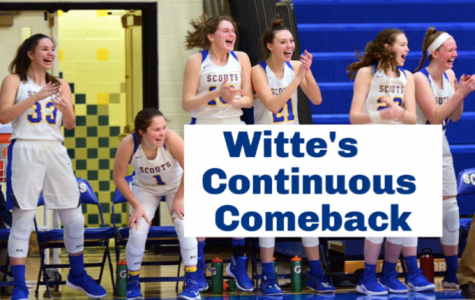 Olivia Witte (far left, #33) celebrates with her teammates during a game last season. (Graphic created by Rory Summerville)