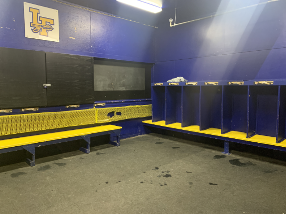 An empty LF Hockey locker room following the 2019-20 season;  the Scouts were suspended from the AHAI State Tournament following a fight at the end of their culminating IHSHL League Playoff game against Evanston.