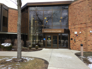 The former front entrance of West Campus, used today as the entrance for administrative facilities in the building.