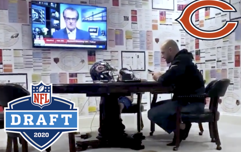 Head Coach Matt Nagy makes phone calls to the Chicago Bears' drafted players from his quarantine draft room at his home in Lake Bluff.