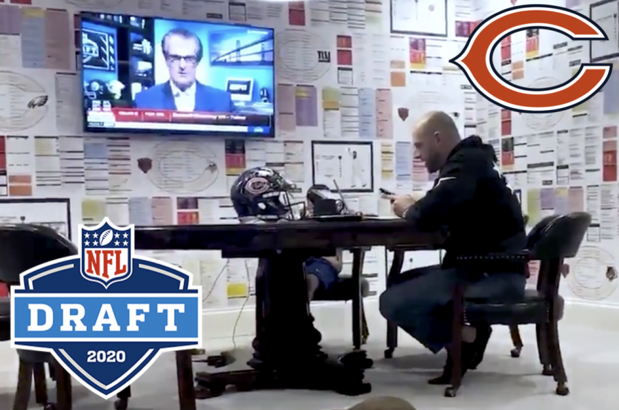Head+Coach+Matt+Nagy+makes+phone+calls+to+the+Chicago+Bears%27+drafted+players+from+his+quarantine+draft+room+at+his+home+in+Lake+Bluff.