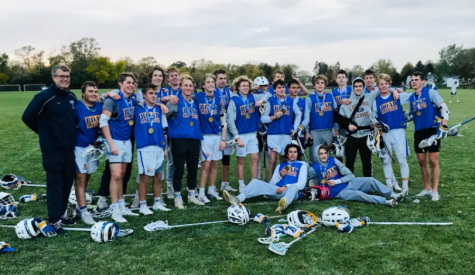 Lake Forest Boys Varsity Lacrosse celebrates a tournament win in Franklin, Wisconsin, beating The Stags Lacrosse Club 10-6.