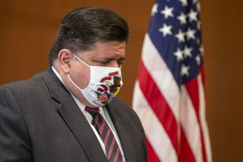 Gov. J.B. Pritzker at a press conference on coronavirus in September.
