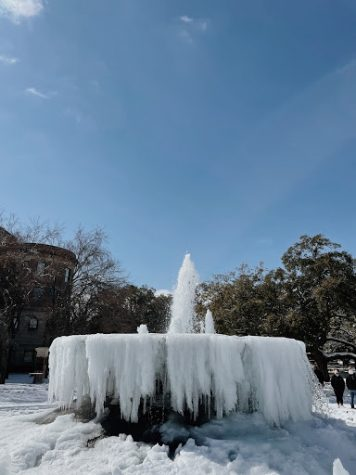 A frozen fountain at Baylor University