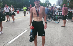 Senior Andrew Terkildsen after completing a triathlon in August. He finished second for his age group.